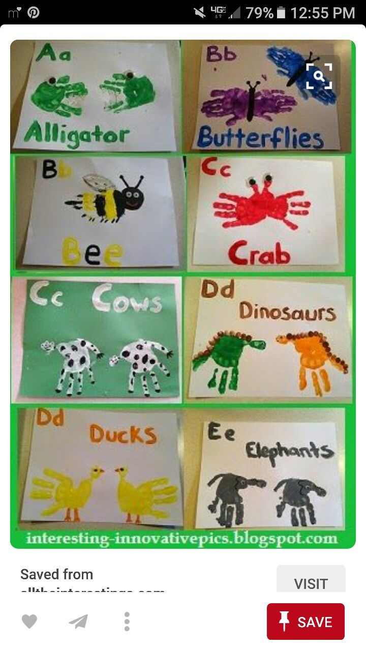 Fun Preschool Art Activities A To E Hand Print Alphabet Arts For Kindergarten Kids Painting Ideas Printed