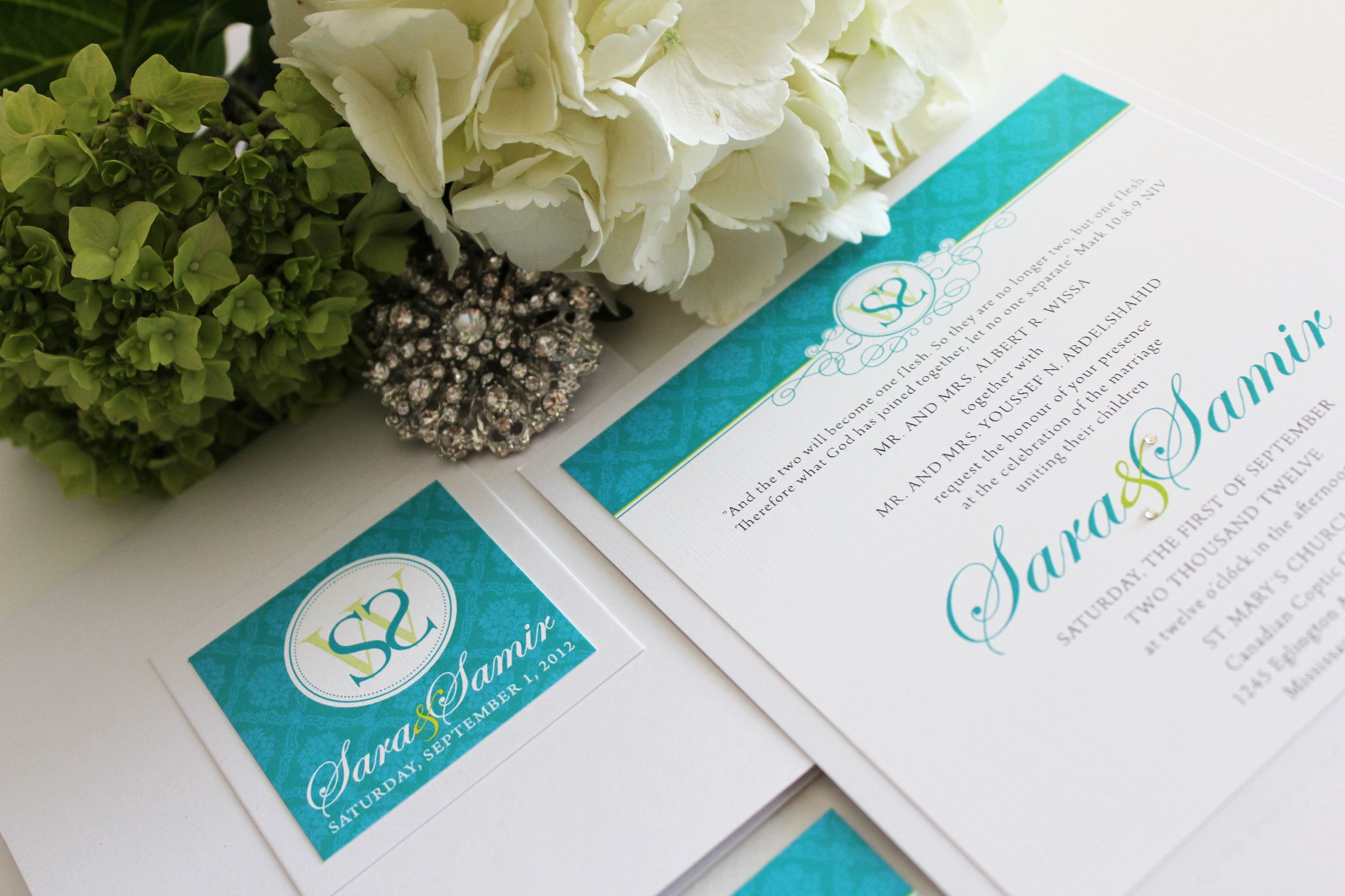 Bright Wedding Invitations: Bright Teal And Lime Green Wedding Invitation Designed By