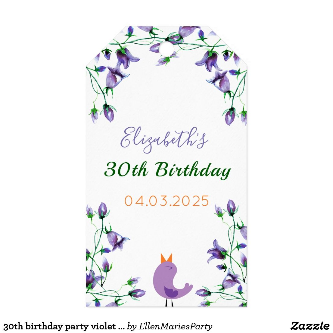 30th birthday party violet florals white thank you gift