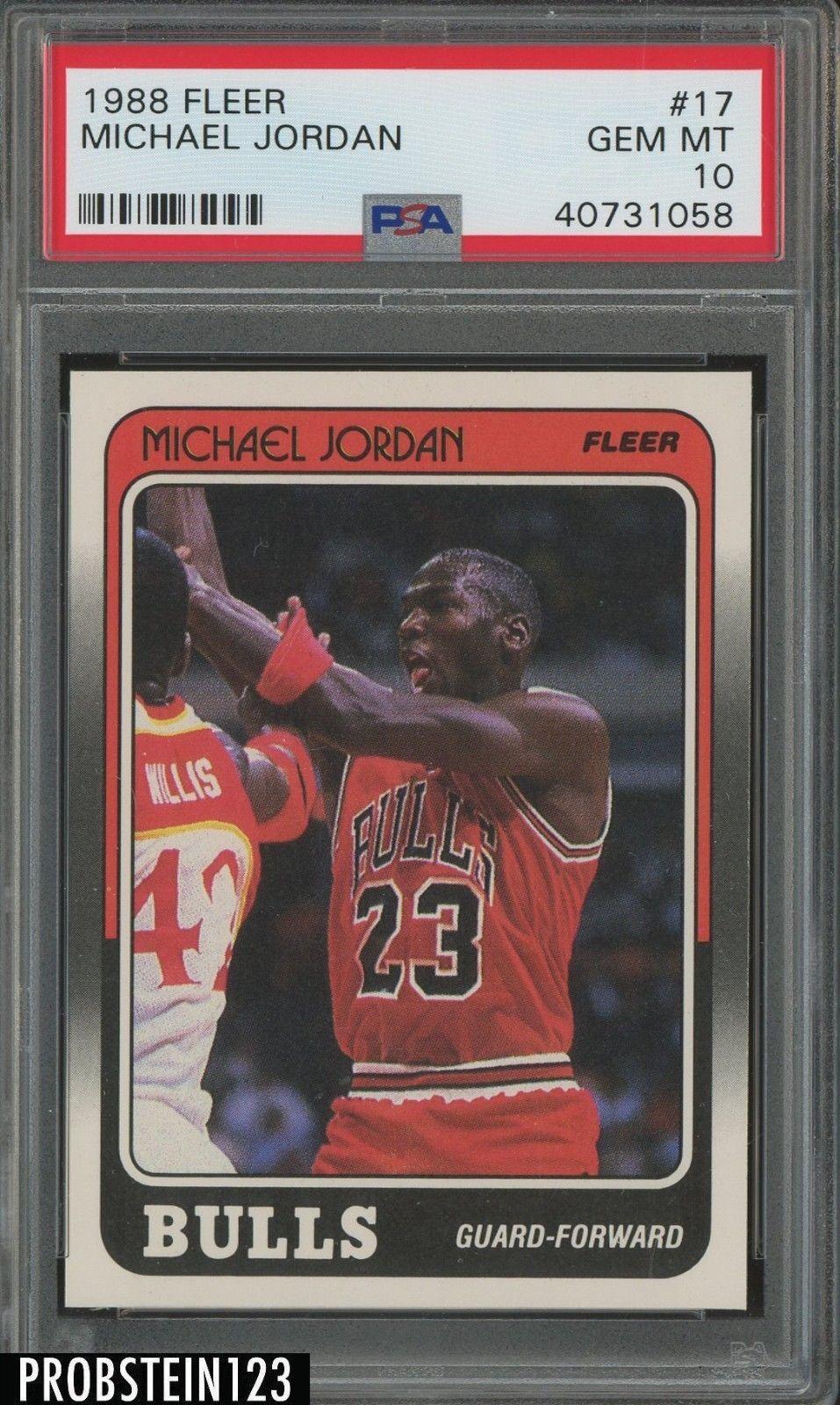 1988 fleer basketball 17 michael jordan hof psa 10