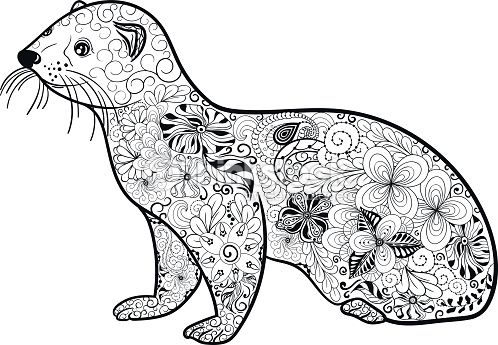 """Illustration """"Ferret"""" was created in doodling style in ..."""