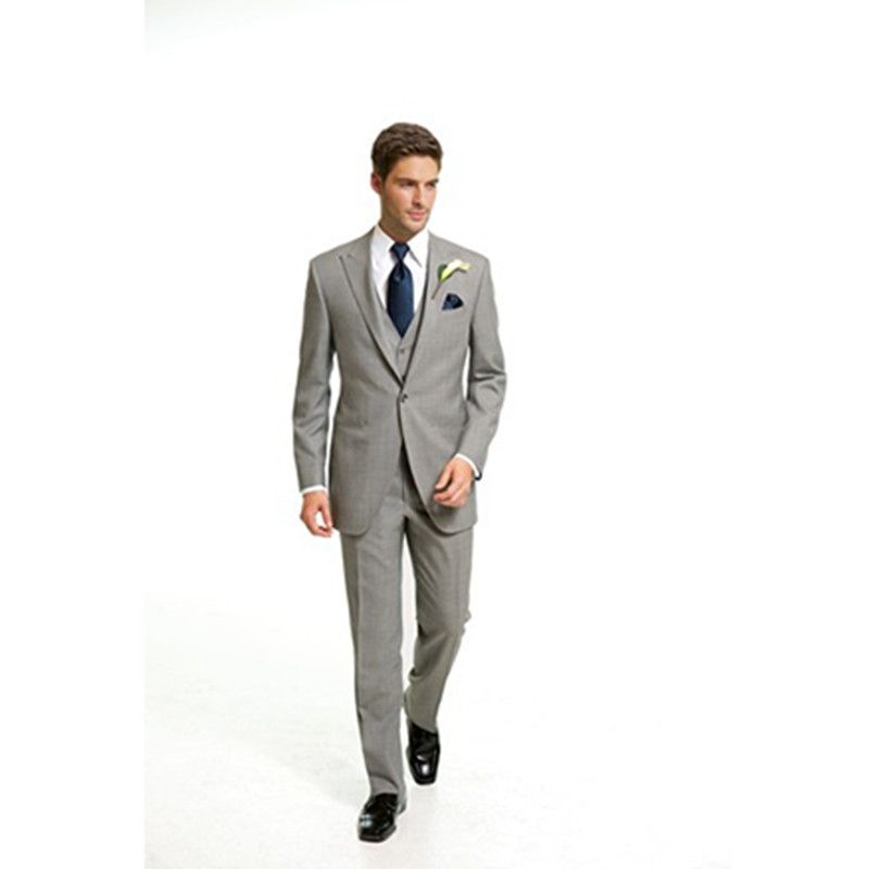 beach wedding groom suit light gray mens suit 3 piece slim fit ...