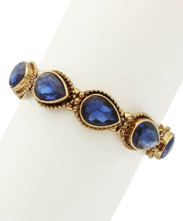 Look at this Gold & Navy Blue Crystal Leigha Bracelet on #zulily today!