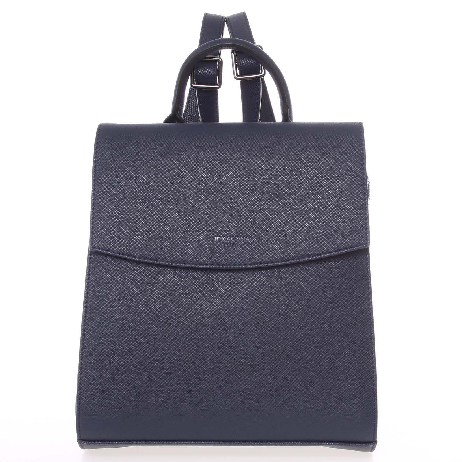 8baa05c9b0 Luxusní stylový strukturovaný dámský batoh tmavě modrý - Hexagona Luigi