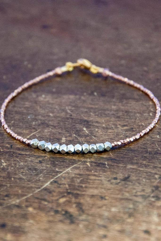 Nugget bracelet pure silver on rose gold vermeil Best DIY