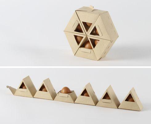 Individual triangular shaped egg holders