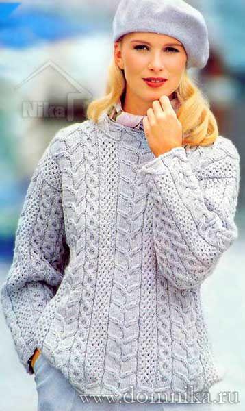 Теплый вязаный джемпер спицами для женщин (с изображениями ...