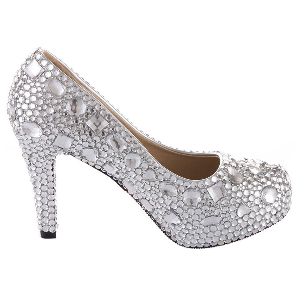 b3a8a6d673c VELCANS Women s Silver Rhinestone and Crystal Platform High Heels for  Bridal