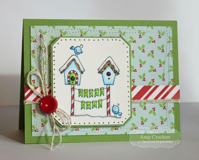 Christmas Birdies Card by Amy Crockett #Cardmaking, #TEMatched, #Christmas, #WishesonaWire, #TE, #ShareJoy
