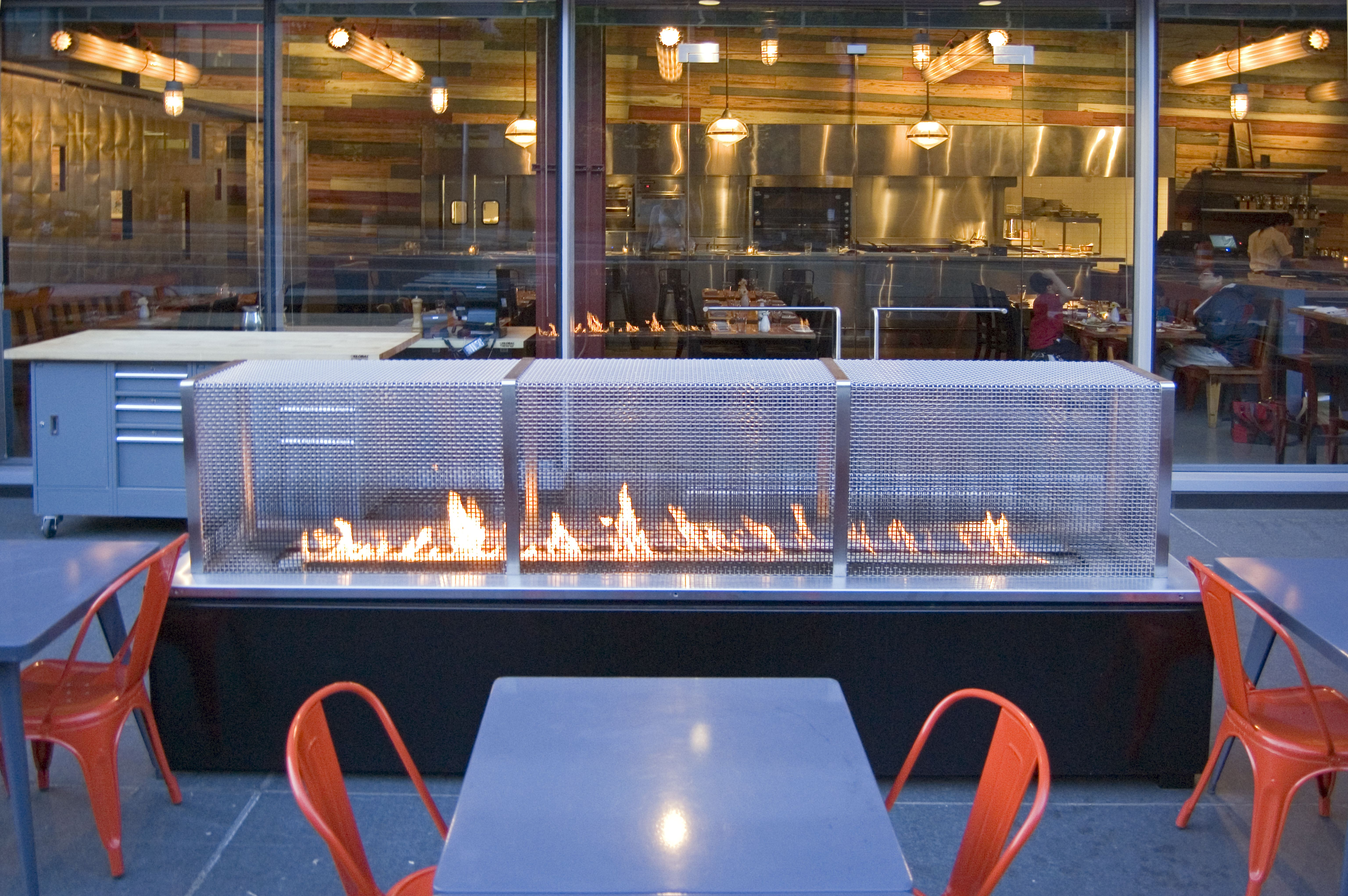 modern patio fire pit. Philadelphia Restaurant Outdoor Dining Spark Modern Fireplace Design And Installation Patio Fire Pit