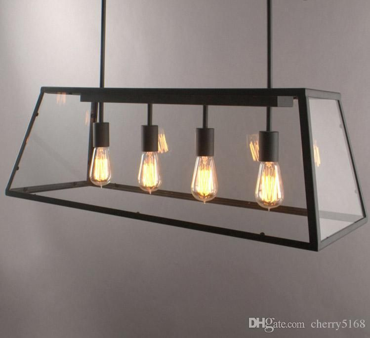 rectangular pendant light. Pendant Lamp Retro American Industrial Black Iron Glass Rectangular Chandelier Living Room Dining Light New G