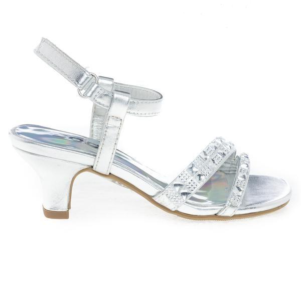 Martini2 Silver Low Heel Metallic Dress Sandal W Rhinestone