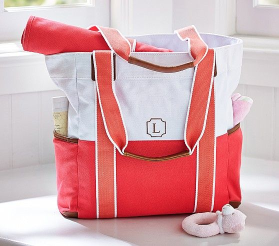Coral Color Block Harper Tote Pottery Barn Kids Diaper