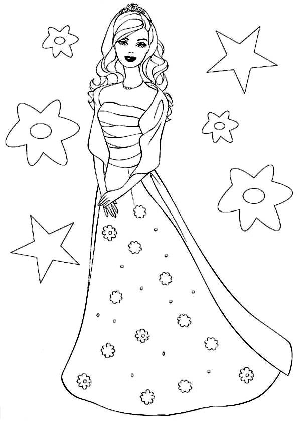 Barbie Doll The Princess Charm School Coloring Page Barbie