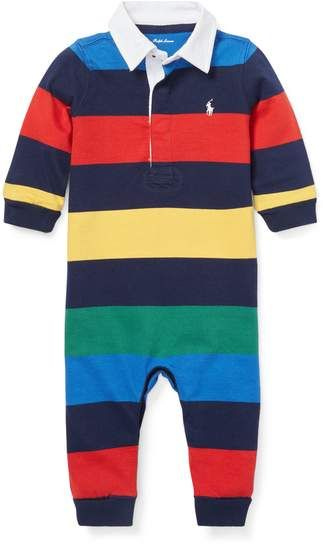 35b48fdd Striped Cotton Rugby Coverall 6-12 months French navy multi  #washable#Size#months