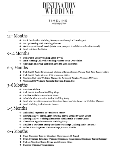 The Ultimate Destination Wedding Timeline To Help You Plan The Wedding Of Your Drea Destination Wedding Timeline Wedding Timeline Destination Wedding Checklist
