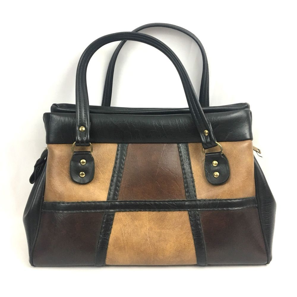 Vintage 1960s Purse Faux Leather Black Brown Patchwork Mod Handbag Ebay