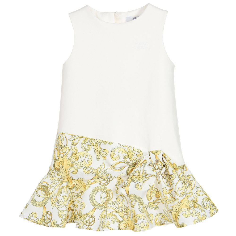 https://www.childrensalon.com/checkout/cart/#a_aid=51f456f914eb5 Young Versace - Girls Ivory Baroque Dress |