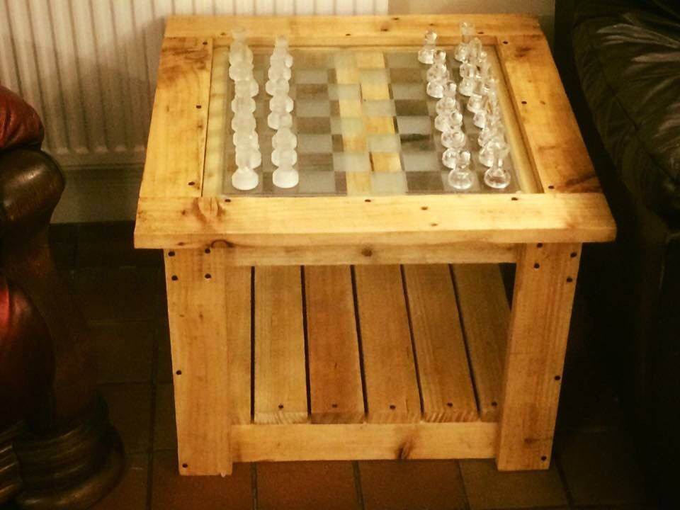 Chess Board Installed In Homemade Pallet Table Table Table