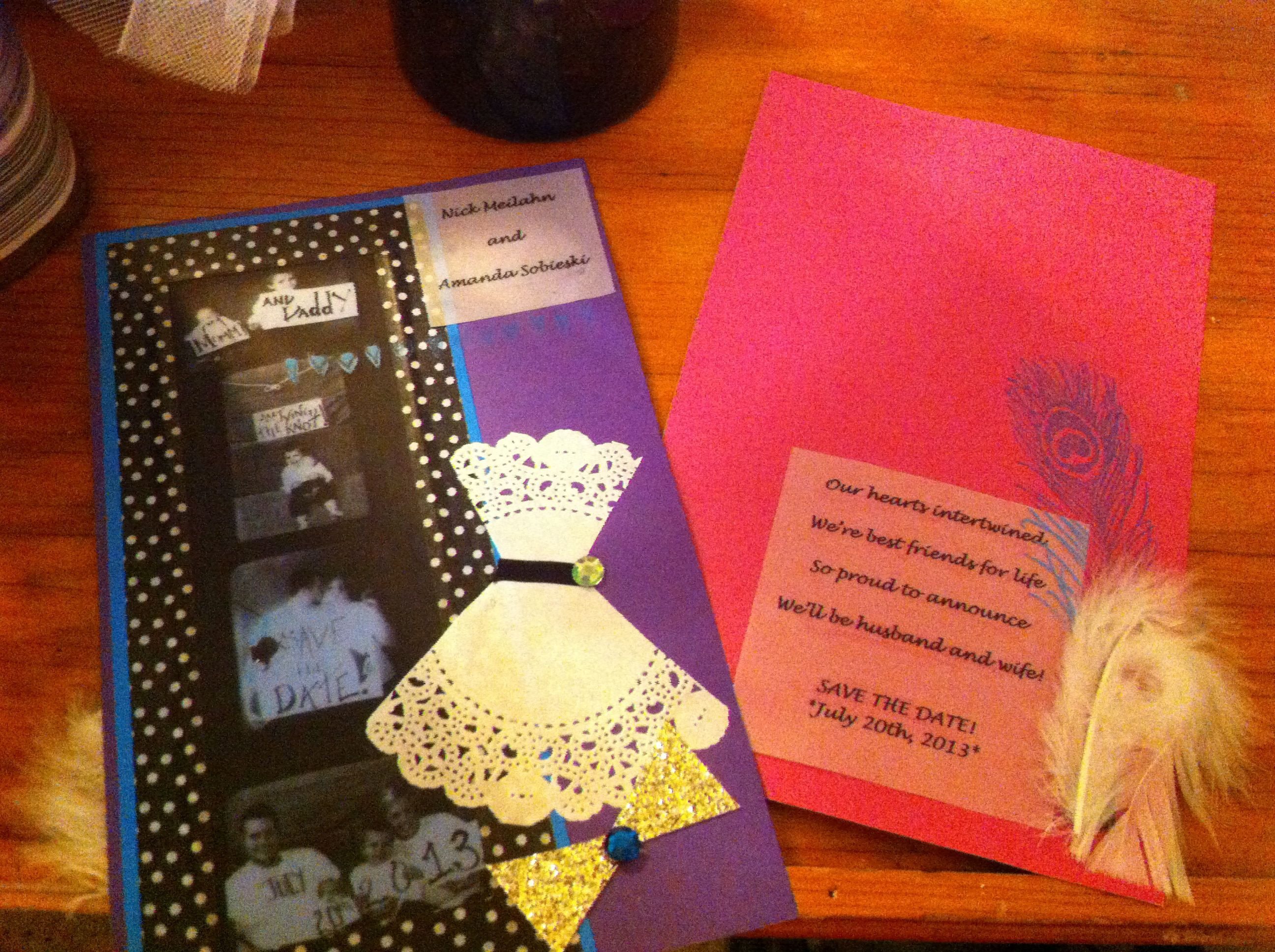 Clever save-the-date cards!!!(apx$30)!*** -colored background paper ...