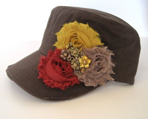 Brown Military Distressed Cadet Army Hat with by theraggedyrose, $35.00