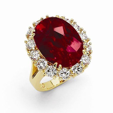 Jewelrypot Gold Plated Stimulated Ruby Oval Ring Walmart Com Ruby Ring Jackie Kennedy Swarovski Crystals