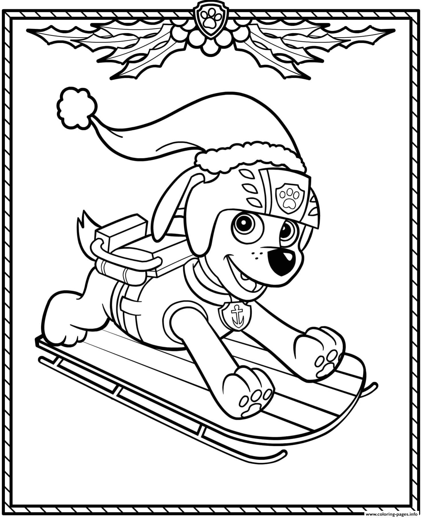 Print Paw Patrol Holiday Christmas Zuma Coloring Pages Paw Patrol Coloring Paw Patrol Christmas Paw Patrol Coloring Pages