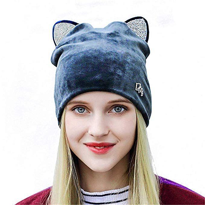 b06ee33268b9f1 Soft Cute Women Girl Warm Winter Cat Ear Shape Suede Hat Elastic Beanie
