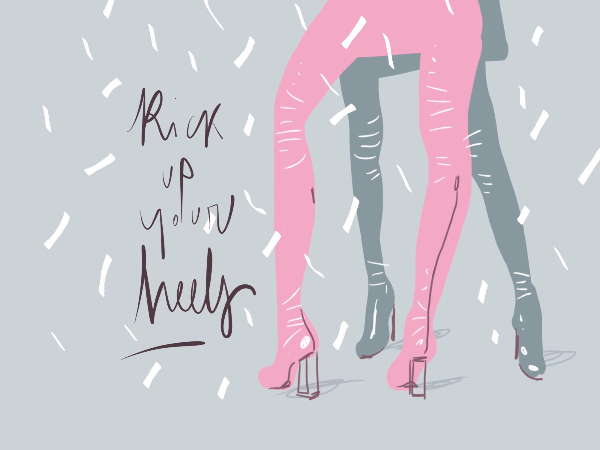 Kick up your heels - Happy New Year! #2017 - www.opentoeillustration.com