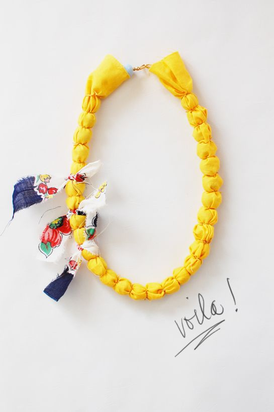 DIY fabric-wrapped necklace
