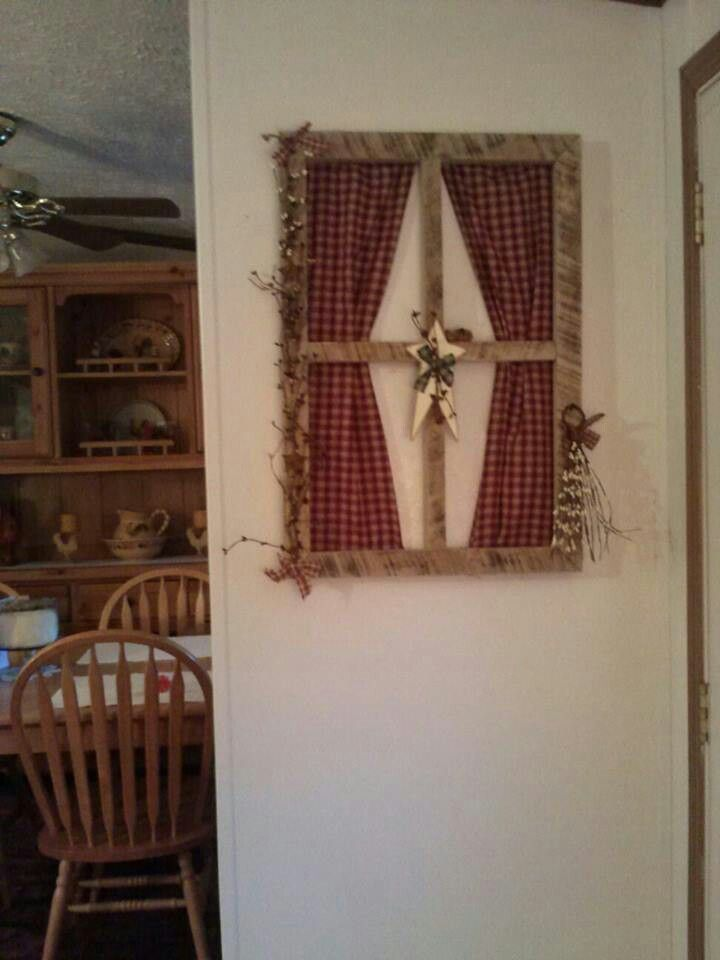 Primitive Country Window Frame Wall Hanging  Primitive Window Frame Decor