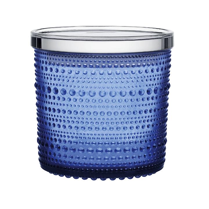 Kastehelmi purkki 116 x 114 mm ultramariinin sininen  Oiva Toikan Kastehelmi-sarja on lasikattauksen klassikko.
