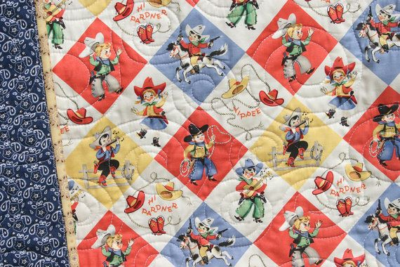 Hey, I found this really awesome Etsy listing at http://www.etsy.com/listing/121318333/retro-cowboy-quilt-baby-blanket-western
