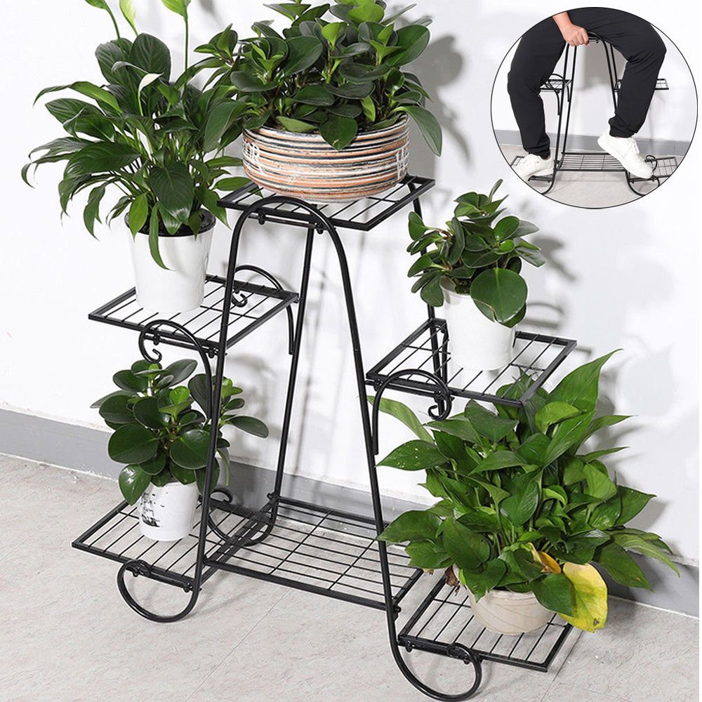 6tier steel indoor outdoor plant stand metal flower pot