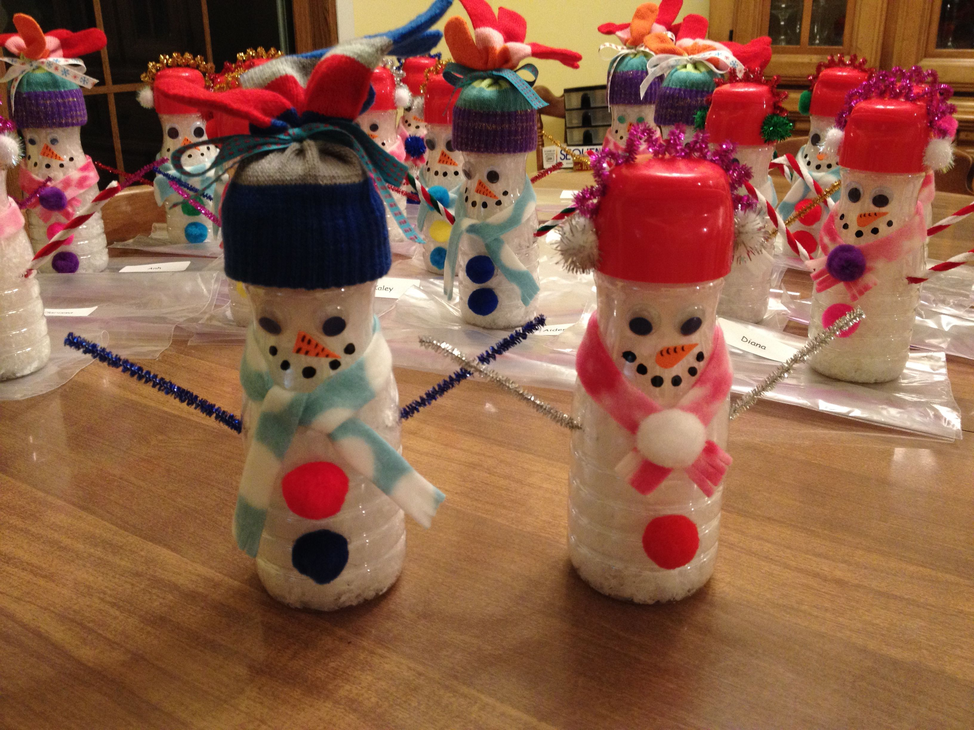 snowmen made from small Coffee-Mate creamer bottles filled ...
