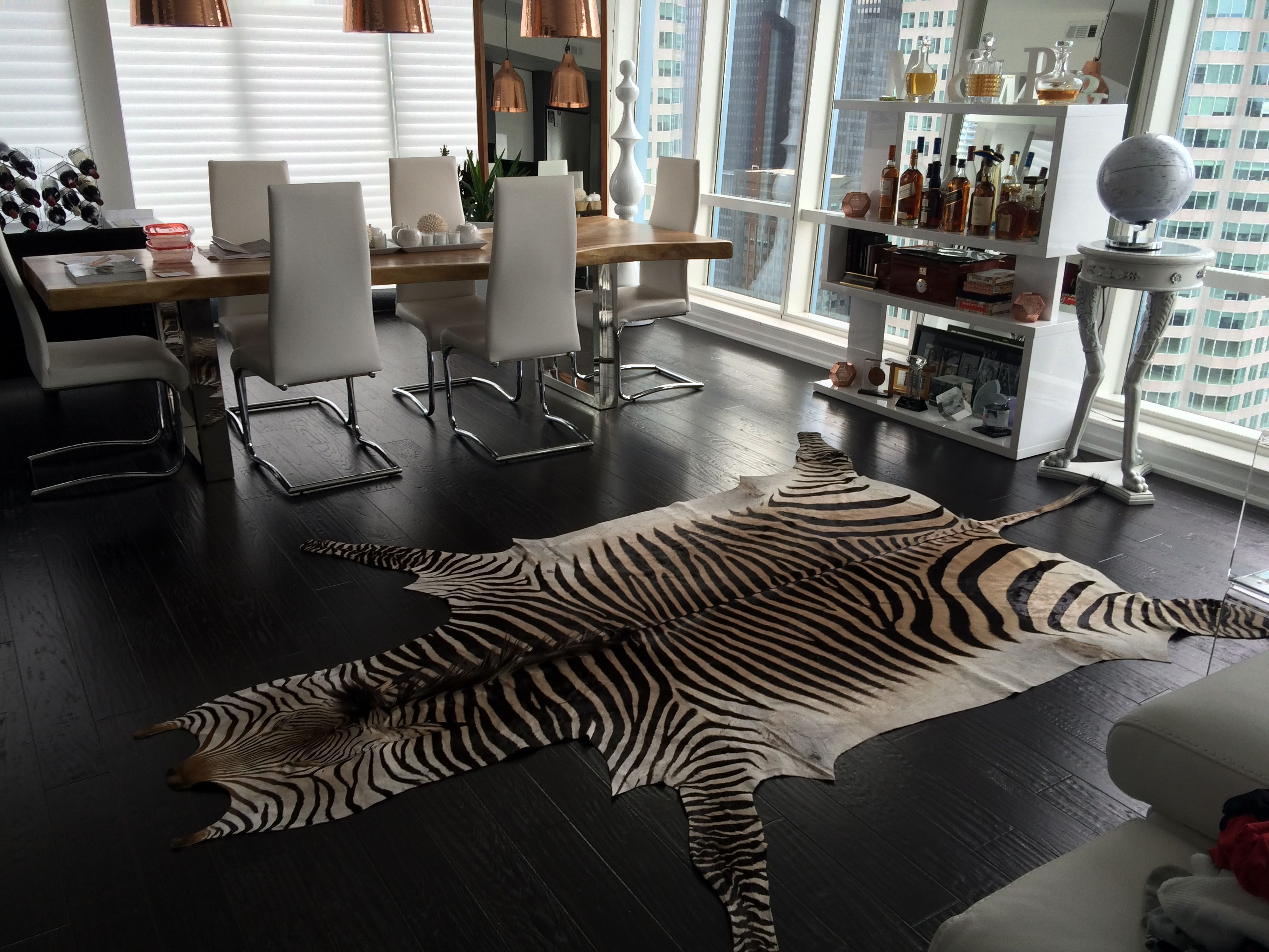 Real Zebra Skin Rug Can Change A Room Thanks To Our Toronto Client For Sharing This Photo With Cowhidesusa Faux Sheepskin Rug Zebra Skin Rug Sheepskin Rug