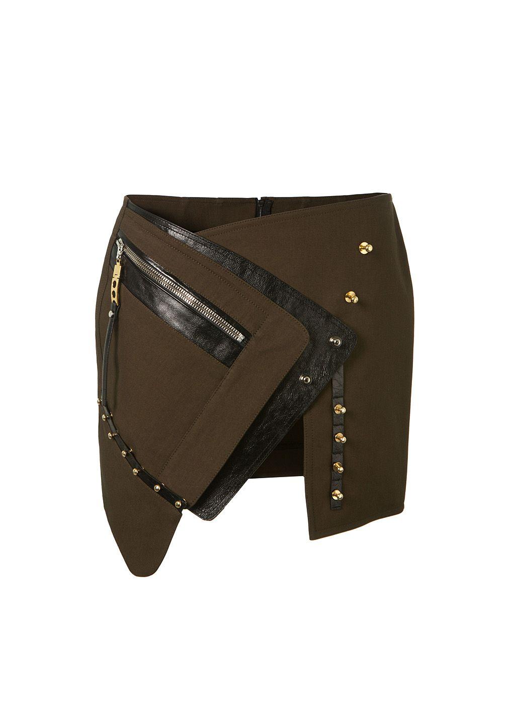 ANTHONY VACCARELLO Anthony Vaccarello Khaki Asymmetric Mini Skirt. #anthonyvaccarello #cloth #