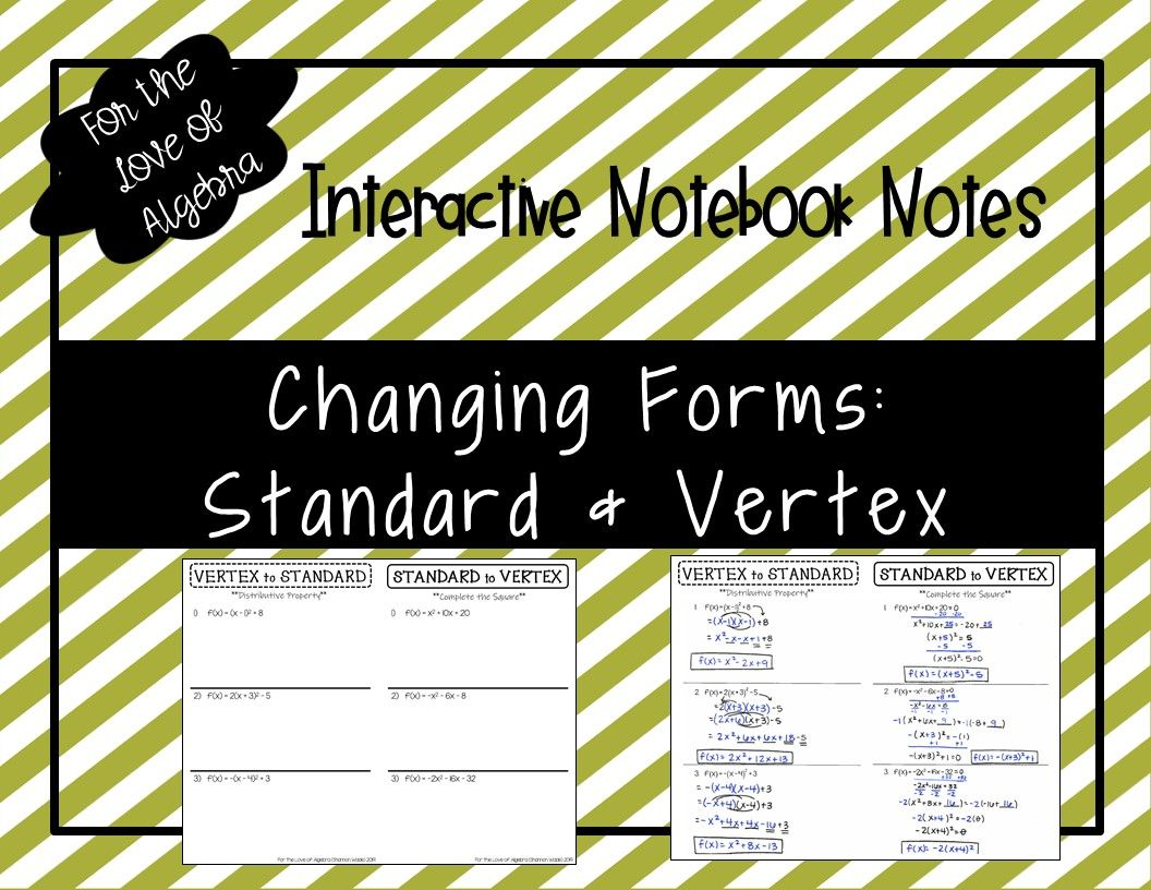 Changing Between Vertex Form Amp Standard Form Gse Algebra