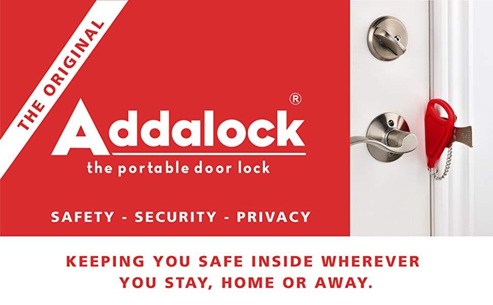 Addalock 1 Piece The Original Portable Door Lock Travel Lock Airbnb Lock School Lockdown Lock Please Note The Genuine Ad Door Locks Travel Lock Airbnb