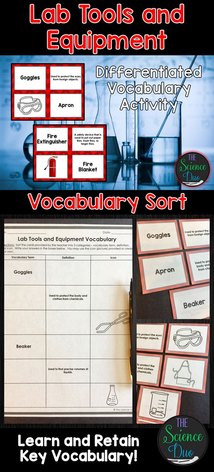 Science Lab Tool and Equipment Vocabulary Sort (With