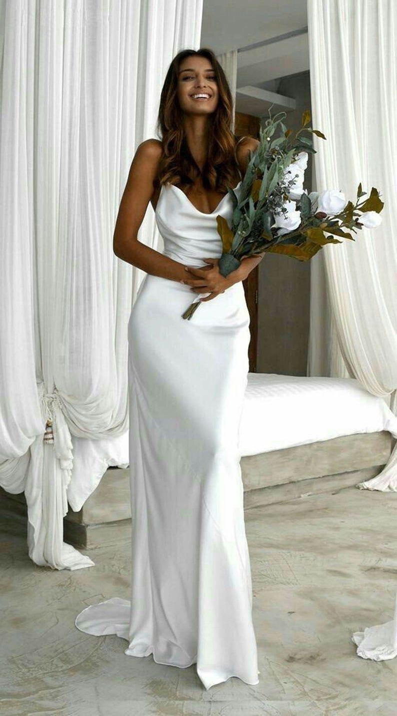 Minimalist A Line Wedding Dress Wedding Gown Wedding Dress A Line Wedding Dress Plain Wedding Dress In 2021 Spaghetti Strap Wedding Dress Wedding Dress Trends A Line Wedding Dress [ 1430 x 794 Pixel ]