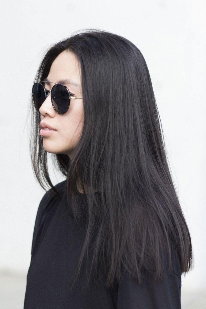 A Line Haircut Long Length Blunt Cut Long Hair Straight Across Long