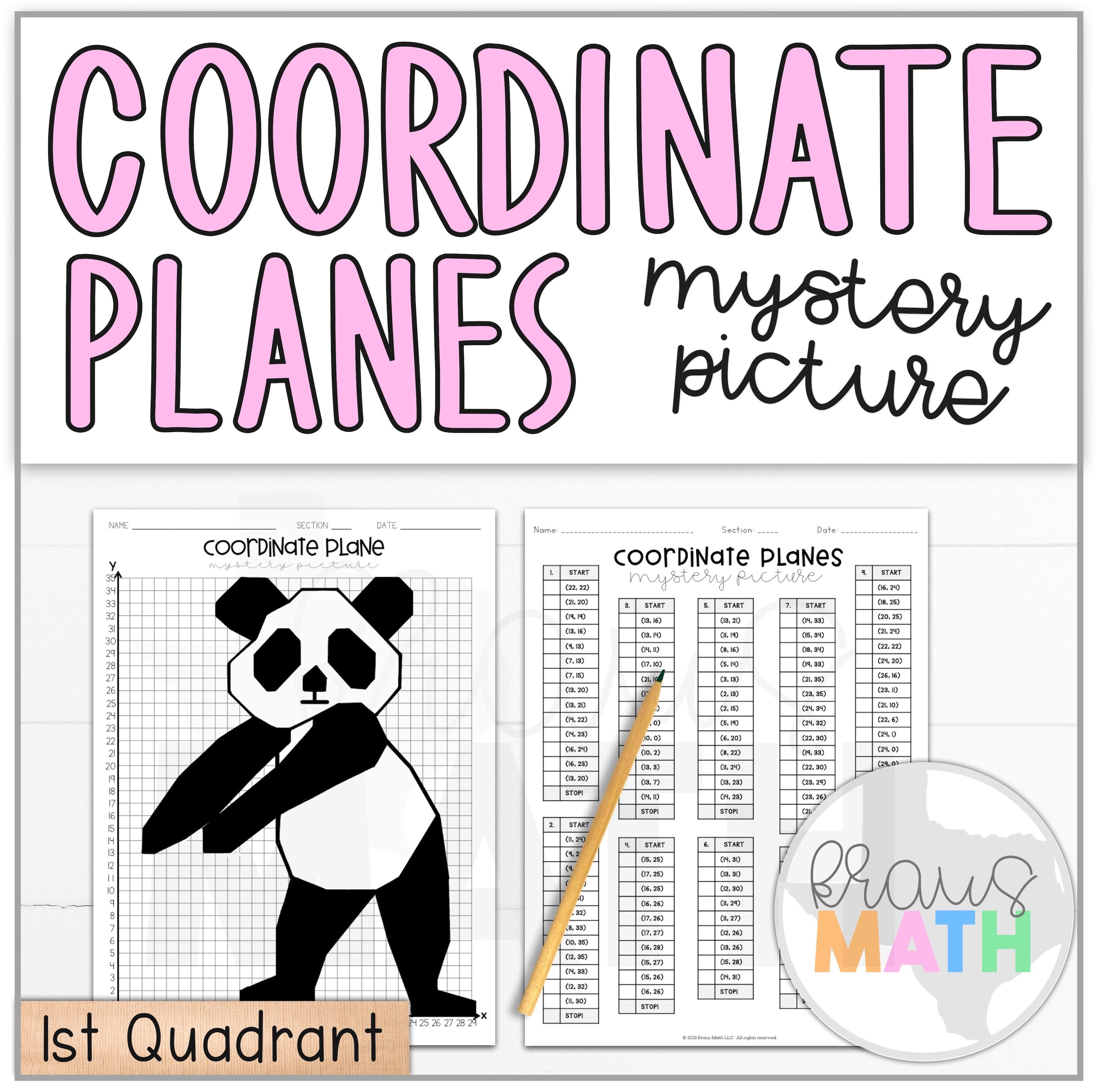 Panda Floss Dance Coordinate Plane Activity 1st Quadrant