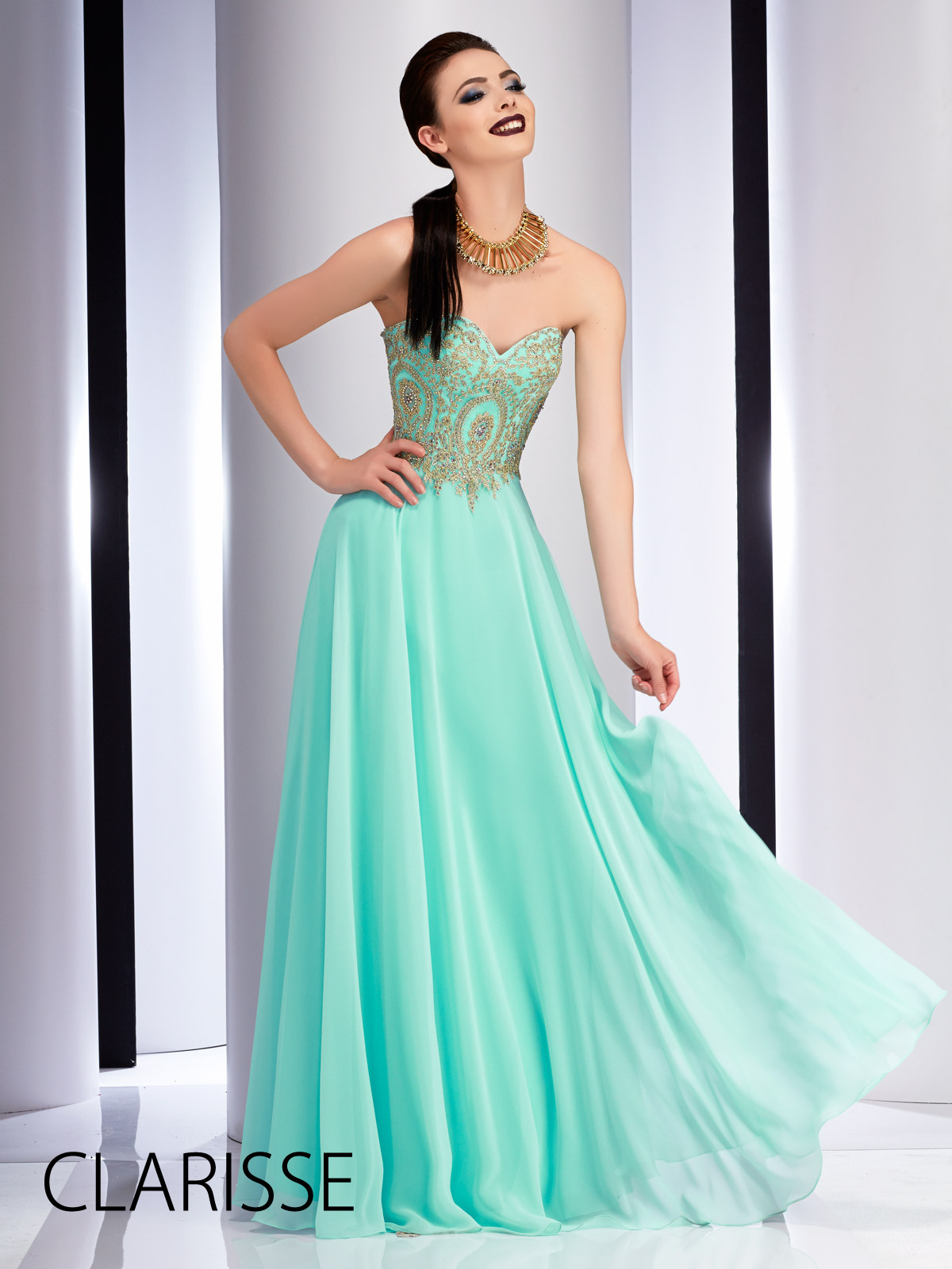 Gorgeous long clarisse prom dress style in mint features a