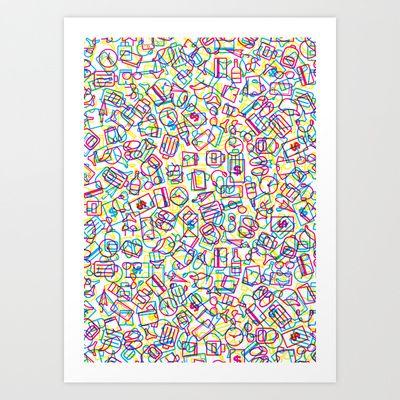 Something for travel_pattern mix_white Art Print by HOOKEEAK - $18.00