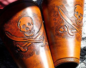 Jolly Rodger Hand Tooled Leather Bracers / Vambraces for LARP/Pirate Garb/  Halloween Costume / Renaissance Fair Accessory