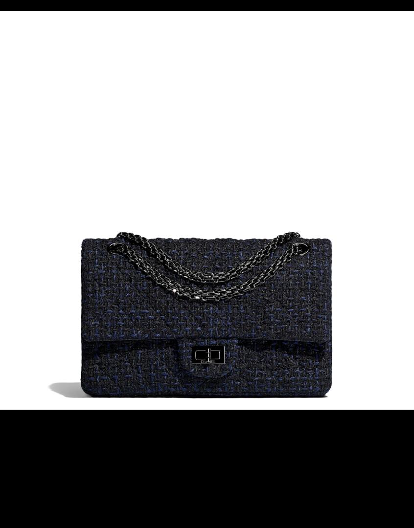 216fa2cb0a98 2.55 handbag, tweed & black metal-black & navy blue - CHANEL ...