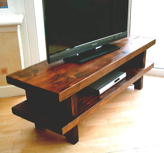 Hand Made Rustic Widescreen Tv Stand 001 Etsy Rustic Tv Stand