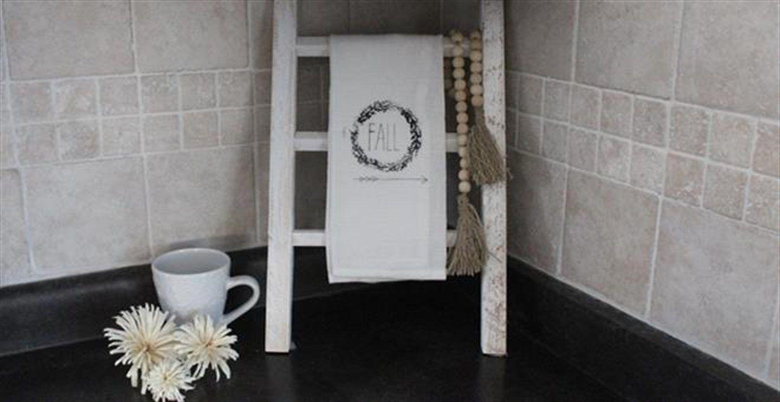 Tea towel ladder in craft ideas pinterest farmhouse