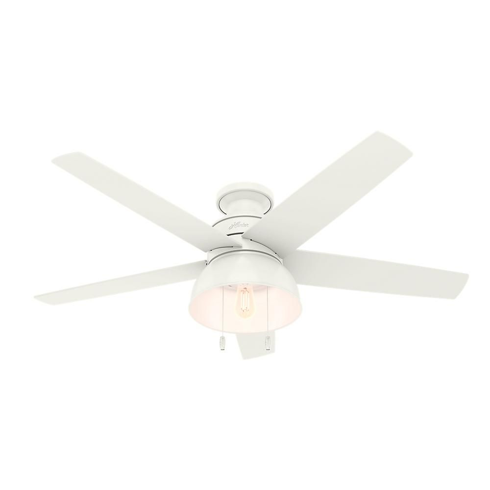 Hunter Bishop Hill 52 In Led Indoor Outdoor Fresh White Ceiling Fan With Light Kit 59563 The Home Depot Ceiling Fan With Light Ceiling Fan Fan Light